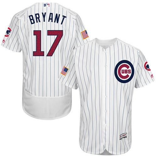 Men's Majestic Chicago Cubs #17 Kris Bryant White Fashion Stars & Stripes Flex Base MLB Jersey