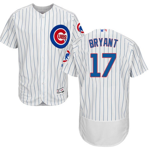 Men's Majestic Chicago Cubs #17 Kris Bryant White Home Flex Base Authentic Collection MLB Jersey