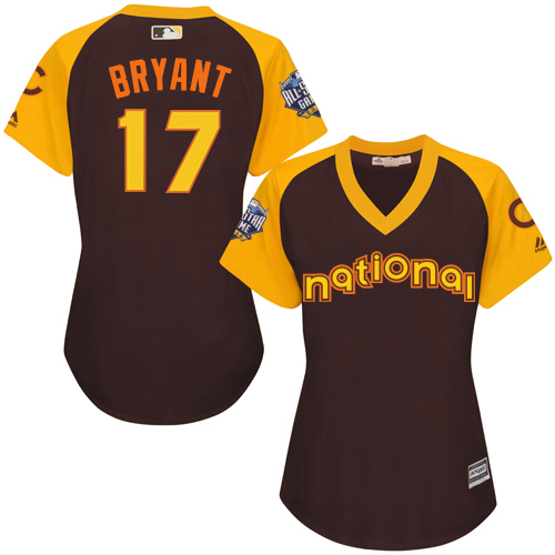 Women's Majestic Chicago Cubs #17 Kris Bryant Authentic Brown 2016 All-Star National League BP Cool Base MLB Jersey