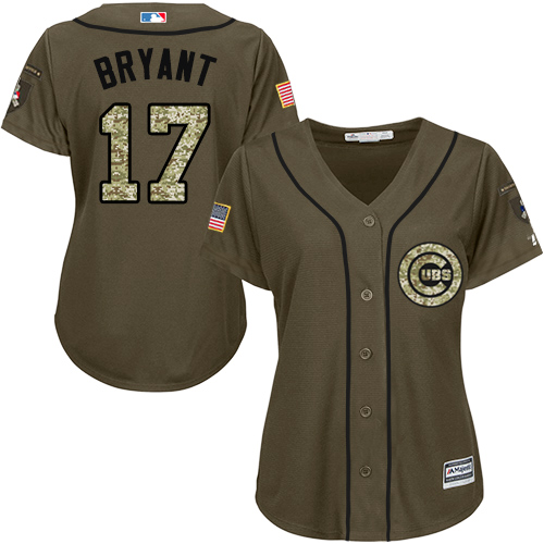 Women's Majestic Chicago Cubs #17 Kris Bryant Authentic Green Salute to Service MLB Jersey