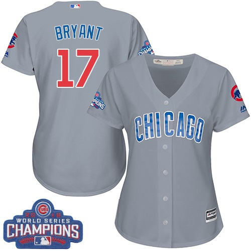 Women's Majestic Chicago Cubs #17 Kris Bryant Authentic Grey Road 2016 World Series Champions Cool Base MLB Jersey