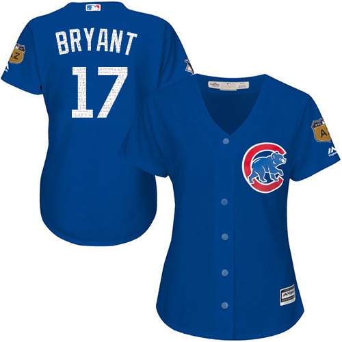 Women's Majestic Chicago Cubs #17 Kris Bryant Authentic Royal Blue 2017 Spring Training Cool Base MLB Jersey