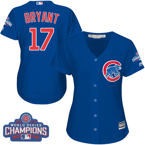 Women's Majestic Chicago Cubs #17 Kris Bryant Authentic Royal Blue Alternate 2016 World Series Champions Cool Base MLB Jersey