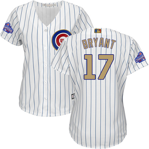 Women's Majestic Chicago Cubs #17 Kris Bryant Authentic White 2017 Gold Program MLB Jersey