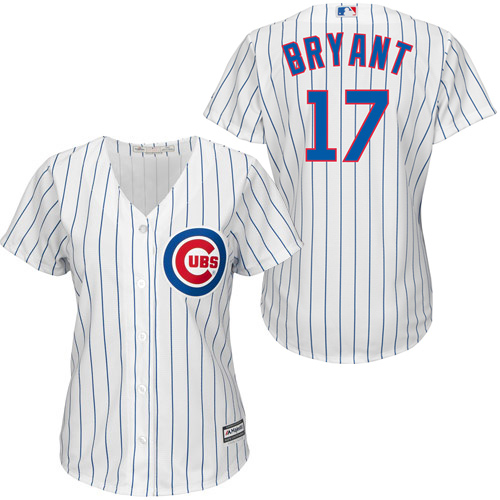 Women's Majestic Chicago Cubs #17 Kris Bryant Authentic White/Blue Strip Fashion MLB Jersey