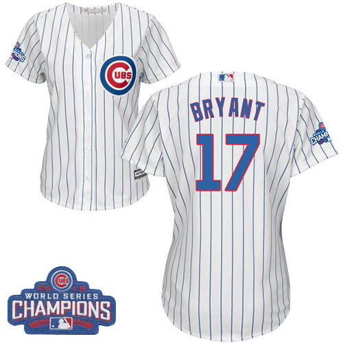 Women's Majestic Chicago Cubs #17 Kris Bryant Authentic White Home 2016 World Series Champions Cool Base MLB Jersey