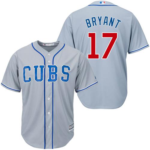 Women's Majestic Chicago Cubs #17 Kris Bryant Replica Grey Alternate Road MLB Jersey