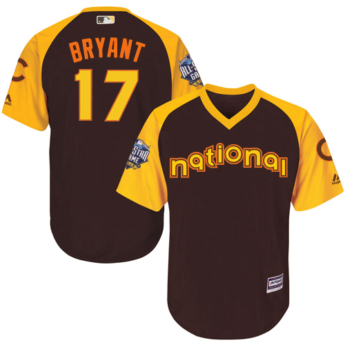 Youth Majestic Chicago Cubs #17 Kris Bryant Authentic Brown 2016 All-Star National League BP Cool Base MLB Jersey