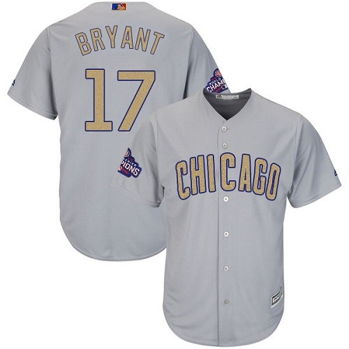 Youth Majestic Chicago Cubs #17 Kris Bryant Authentic Gray 2017 Gold Champion Cool Base MLB Jersey
