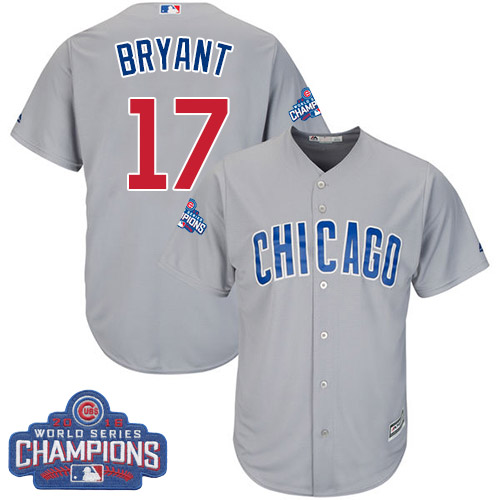 Youth Majestic Chicago Cubs #17 Kris Bryant Authentic Grey Road 2016 World Series Champions Cool Base MLB Jersey
