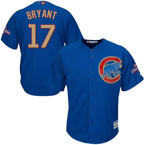 Youth Majestic Chicago Cubs #17 Kris Bryant Authentic Royal Blue 2017 Gold Champion Cool Base MLB Jersey