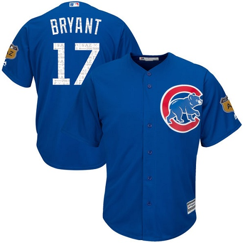 Youth Majestic Chicago Cubs #17 Kris Bryant Authentic Royal Blue 2017 Spring Training Cool Base MLB Jersey