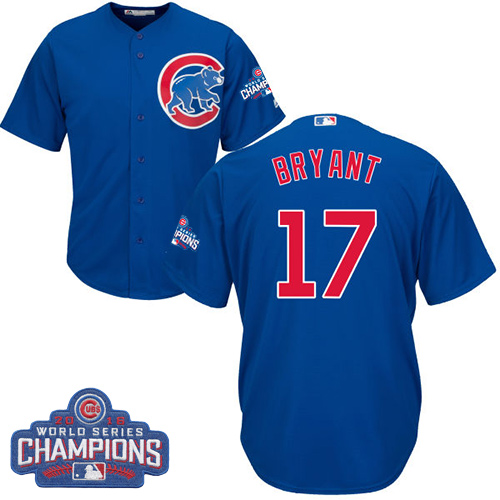 Youth Majestic Chicago Cubs #17 Kris Bryant Authentic Royal Blue Alternate 2016 World Series Champions Cool Base MLB Jersey
