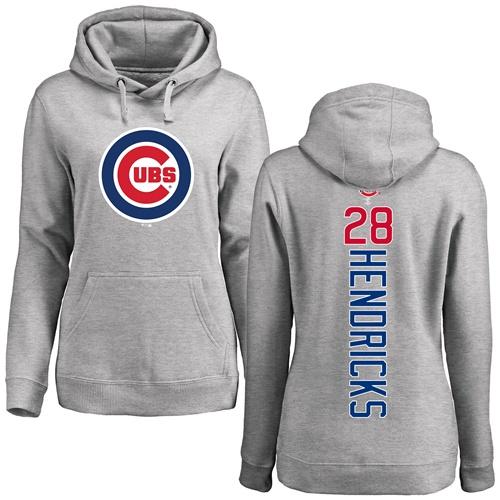 MLB Women's Nike Chicago Cubs #28 Kyle Hendricks Ash Backer Pullover Hoodie