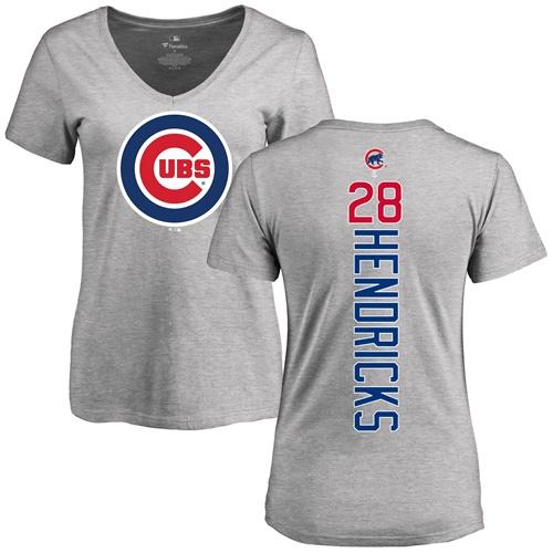MLB Women's Nike Chicago Cubs #28 Kyle Hendricks Ash Backer T-Shirt