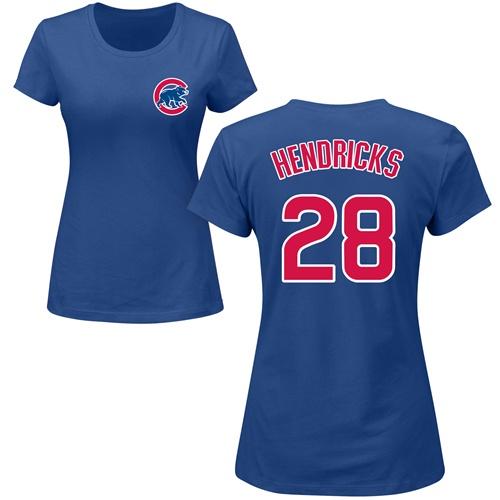 MLB Women's Nike Chicago Cubs #28 Kyle Hendricks Royal Blue Name & Number T-Shirt