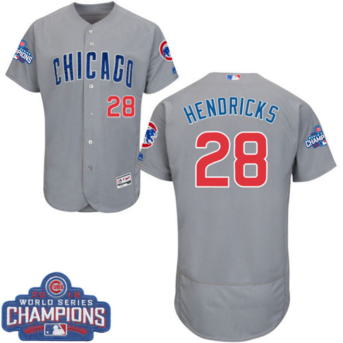 Men's Majestic Chicago Cubs #28 Kyle Hendricks Grey Road 2016 World Series Champions Flexbase Authentic Collection MLB Jersey