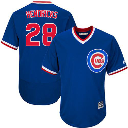 Men's Majestic Chicago Cubs #28 Kyle Hendricks Replica Royal Blue Cooperstown Cool Base MLB Jersey