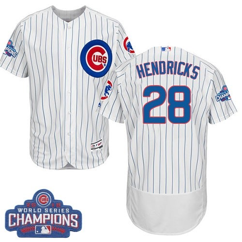 Men's Majestic Chicago Cubs #28 Kyle Hendricks White Home 2016 World Series Champions Flexbase Authentic Collection MLB Jersey