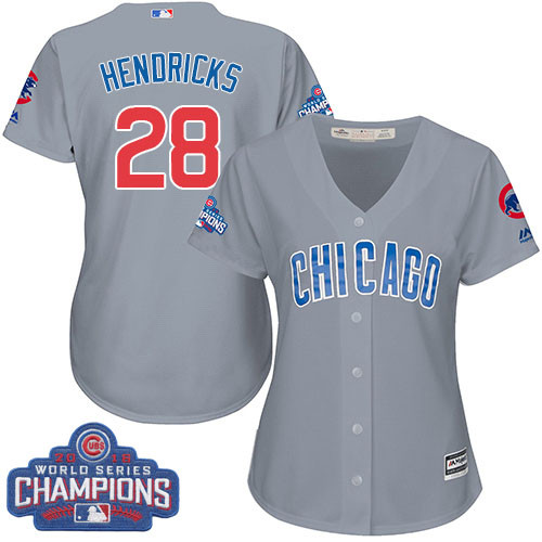 Women's Majestic Chicago Cubs #28 Kyle Hendricks Authentic Grey Road 2016 World Series Champions Cool Base MLB Jersey