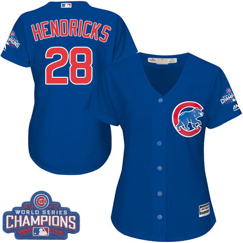 Women's Majestic Chicago Cubs #28 Kyle Hendricks Authentic Royal Blue Alternate 2016 World Series Champions Cool Base MLB Jersey