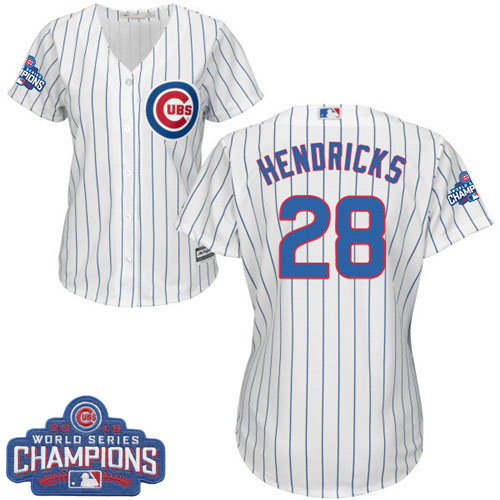 Women's Majestic Chicago Cubs #28 Kyle Hendricks Authentic White Home 2016 World Series Champions Cool Base MLB Jersey