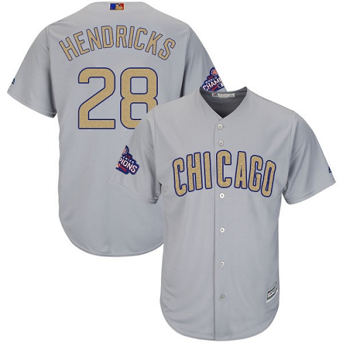 Youth Majestic Chicago Cubs #28 Kyle Hendricks Authentic Gray 2017 Gold Champion Cool Base MLB Jersey