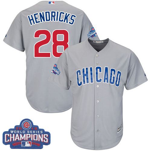 Youth Majestic Chicago Cubs #28 Kyle Hendricks Authentic Grey Road 2016 World Series Champions Cool Base MLB Jersey