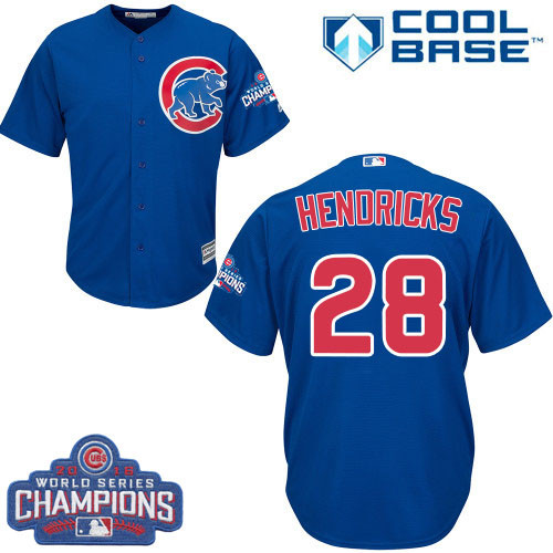 Youth Majestic Chicago Cubs #28 Kyle Hendricks Authentic Royal Blue Alternate 2016 World Series Champions Cool Base MLB Jersey