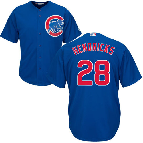 Youth Majestic Chicago Cubs #28 Kyle Hendricks Authentic Royal Blue Alternate Cool Base MLB Jersey