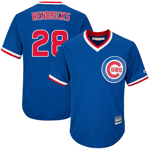 Youth Majestic Chicago Cubs #28 Kyle Hendricks Authentic Royal Blue Cooperstown Cool Base MLB Jersey