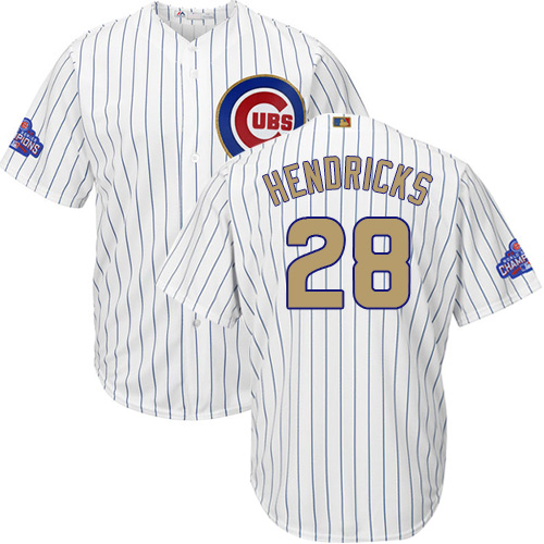 Youth Majestic Chicago Cubs #28 Kyle Hendricks Authentic White 2017 Gold Program Cool Base MLB Jersey