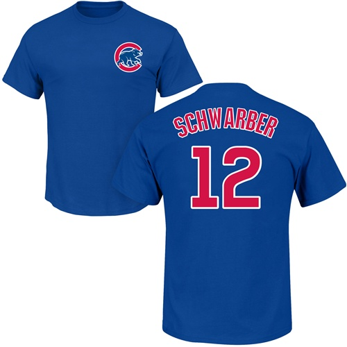 MLB Nike Chicago Cubs #12 Kyle Schwarber Royal Blue Name & Number T-Shirt