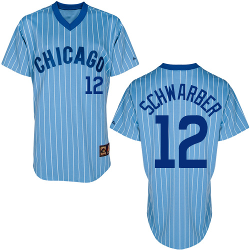 Men's Majestic Chicago Cubs #12 Kyle Schwarber Authentic Blue Cooperstown Throwback MLB Jersey