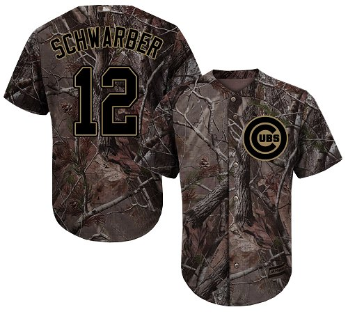 Men's Majestic Chicago Cubs #12 Kyle Schwarber Authentic Camo Realtree Collection Flex Base MLB Jersey