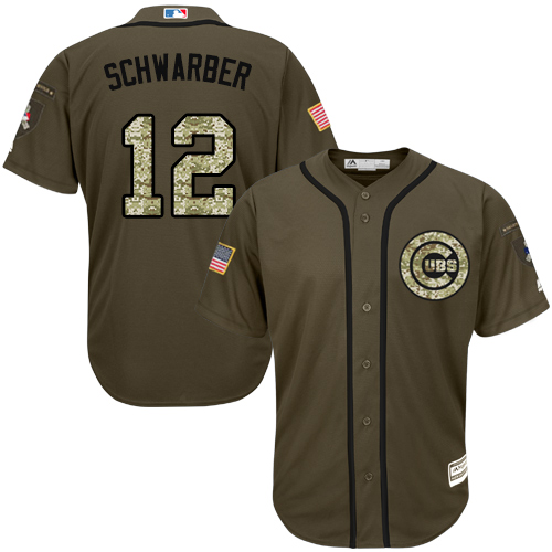 Men's Majestic Chicago Cubs #12 Kyle Schwarber Authentic Green Salute to Service MLB Jersey