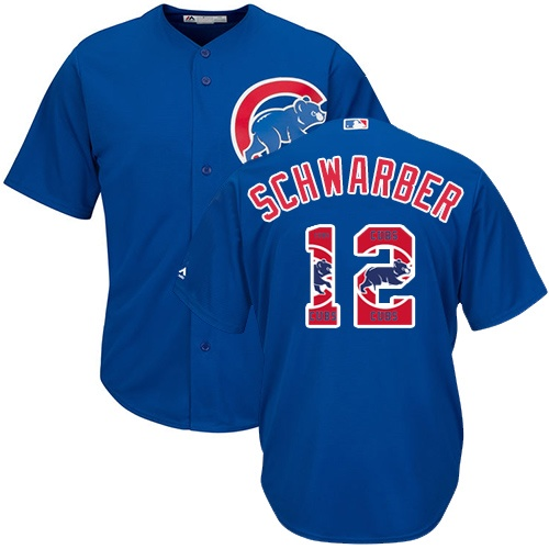 Men's Majestic Chicago Cubs #12 Kyle Schwarber Authentic Royal Blue Team Logo Fashion Cool Base MLB Jersey