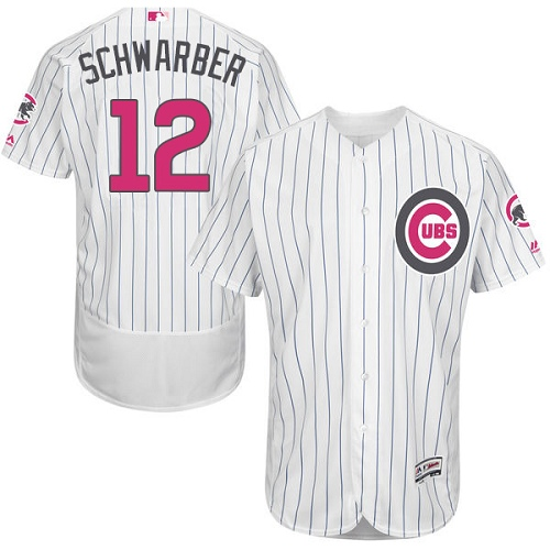 Men's Majestic Chicago Cubs #12 Kyle Schwarber Authentic White 2016 Mother's Day Fashion Flex Base MLB Jersey