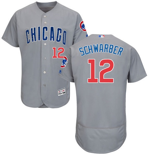 Men's Majestic Chicago Cubs #12 Kyle Schwarber Grey Road Flex Base Authentic Collection MLB Jersey