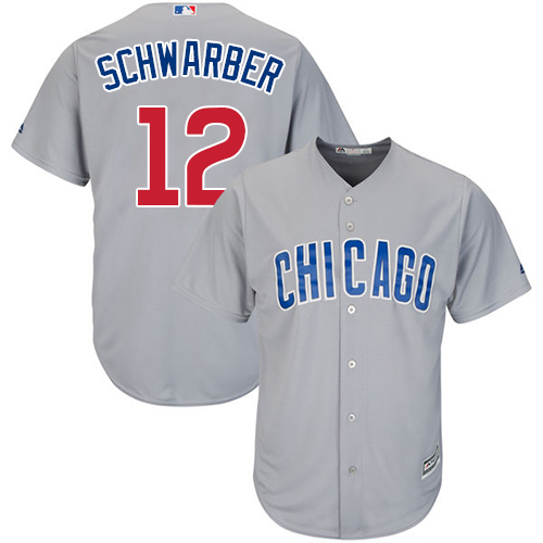 Men's Majestic Chicago Cubs #12 Kyle Schwarber Replica Grey Road Cool Base MLB Jersey