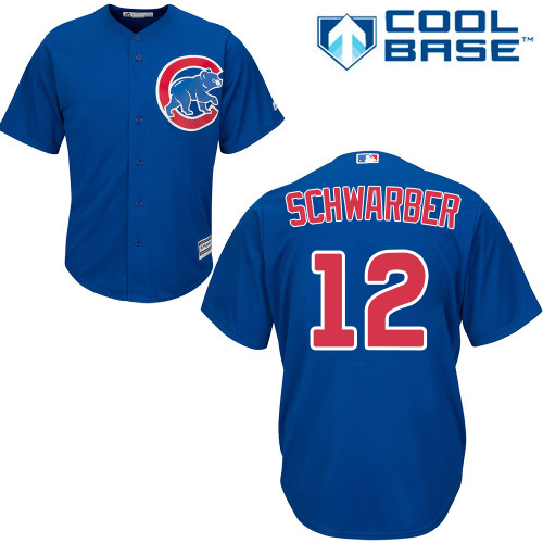 Men's Majestic Chicago Cubs #12 Kyle Schwarber Replica Royal Blue Alternate Cool Base MLB Jersey
