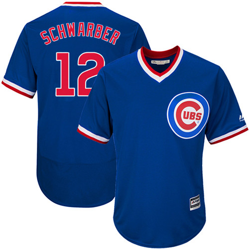 Men's Majestic Chicago Cubs #12 Kyle Schwarber Replica Royal Blue Cooperstown Cool Base MLB Jersey