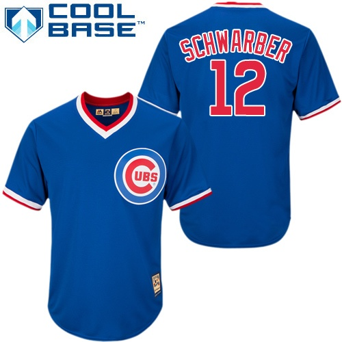 Men's Majestic Chicago Cubs #12 Kyle Schwarber Replica Royal Blue Cooperstown MLB Jersey