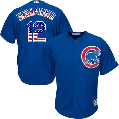 Men's Majestic Chicago Cubs #12 Kyle Schwarber Replica Royal Blue USA Flag Fashion MLB Jersey