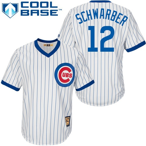 Men's Majestic Chicago Cubs #12 Kyle Schwarber Replica White Home Cooperstown MLB Jersey