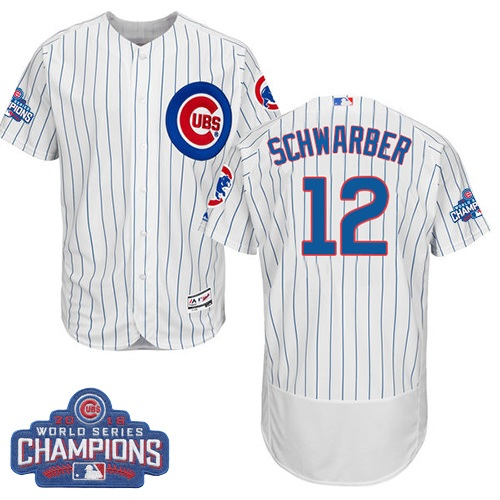 Men's Majestic Chicago Cubs #12 Kyle Schwarber White 2016 World Series Champions Flexbase Authentic Collection MLB Jersey