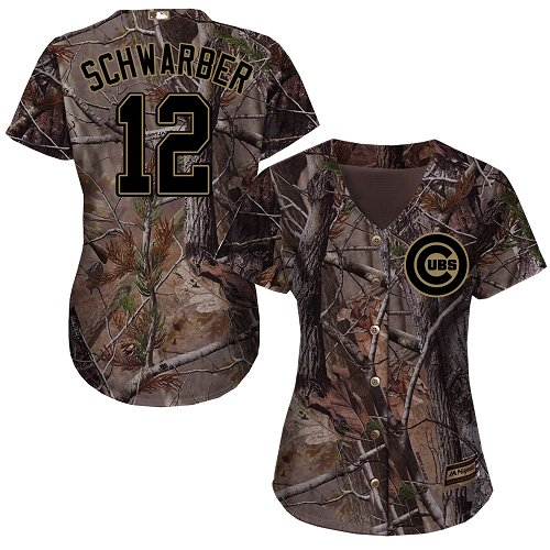 Women's Majestic Chicago Cubs #12 Kyle Schwarber Authentic Camo Realtree Collection Flex Base MLB Jersey