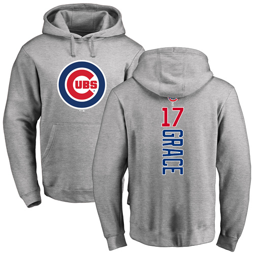 MLB Nike Chicago Cubs #17 Mark Grace Ash Backer Pullover Hoodie