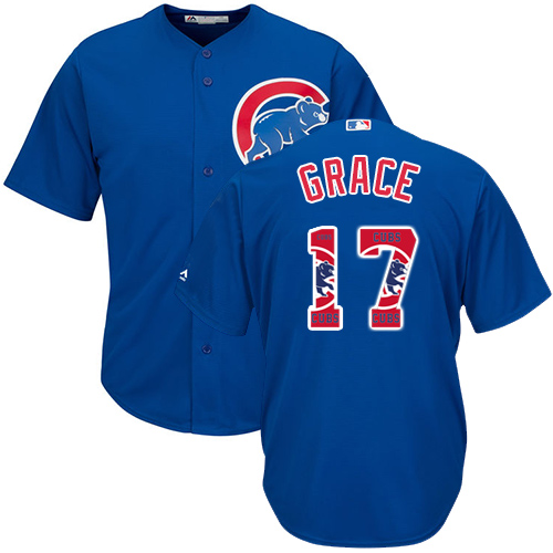 Men's Majestic Chicago Cubs #17 Mark Grace Authentic Royal Blue Team Logo Fashion Cool Base MLB Jersey