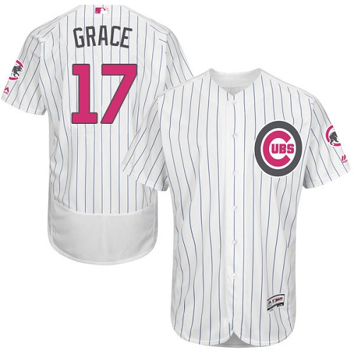 Men's Majestic Chicago Cubs #17 Mark Grace Authentic White 2016 Mother's Day Fashion Flex Base MLB Jersey